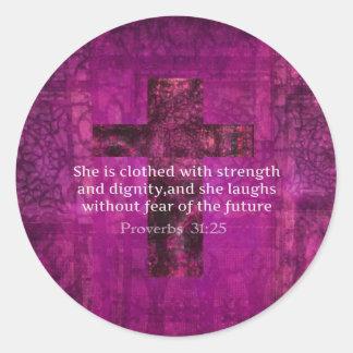 Mujeres inspiradas del verso de la biblia del pegatina redonda