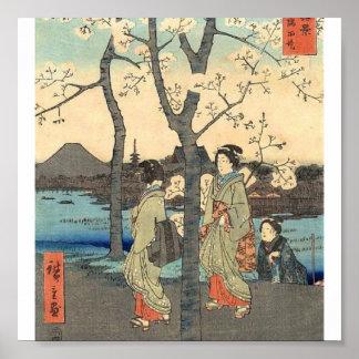 Mujeres japonesas antiguas debajo de las flores de póster