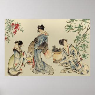 Mujeres japonesas en ropa tradicional posters