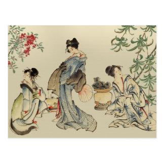 Mujeres japonesas en ropa tradicional postal