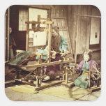 Mujeres japonesas que tejen, c.1890 (phot colcomanias cuadradas personalizadas