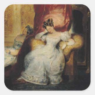 Mujeres jovenes asentadas, 1827 pegatina cuadrada