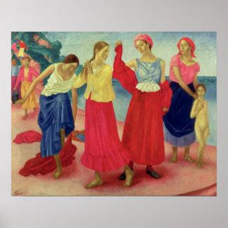 Mujeres jovenes en el Volga, 1915 Póster