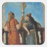 Mujeres judías en el balcón, Argel, 1849 Calcomanía Cuadradas