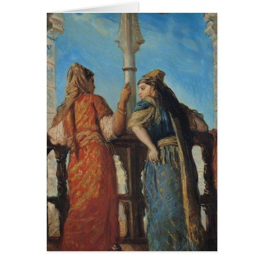 Mujeres judías en el balcón, Argel, 1849 Tarjeta