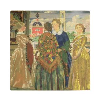 Mujeres mercantil posavasos de arce