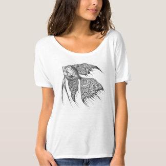 Mujeres negras del Angelfish del cordón superiores Remeras