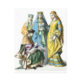 Mujeres nobles alemanas medievales - trajes de impresión en lienzo