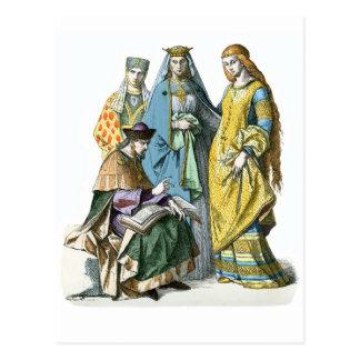 Mujeres nobles alemanas medievales - trajes de tarjeta postal