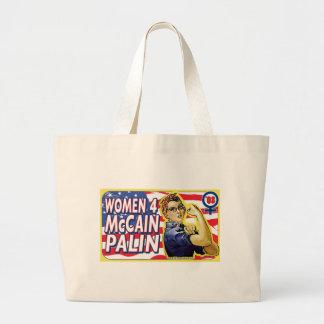 Mujeres para McCain Palin 2008 Bolsa Tela Grande