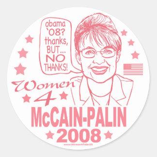 Mujeres para McCain Palin 2008 Etiqueta Redonda