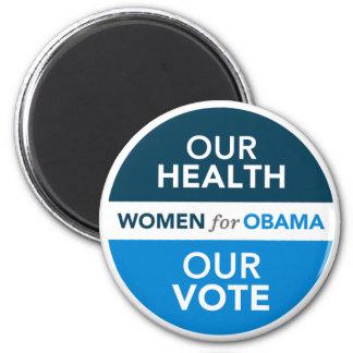 Mujeres para Obama - nuestra salud nuestro voto Imán Redondo 5 Cm