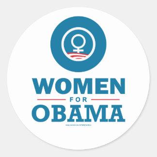 Mujeres para Obama Etiqueta Redonda