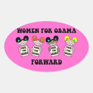 mujeres para Obama Calcomanías De Ovales Personalizadas