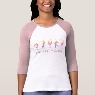 mujeres - patinaje artístico, arco iris en colores camiseta
