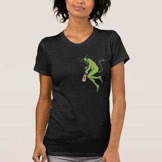 Mujeres pequeñas del ajenjo verde del diablo de camiseta