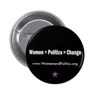 Mujeres + Política = cambio Pin Redondo De 2 Pulgadas