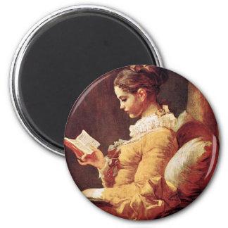 Mujeres por Fragonard, Jean Honoré (el mejor Qual Imán Redondo 5 Cm