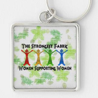 Mujeres que apoyan a mujeres llavero cuadrado plateado