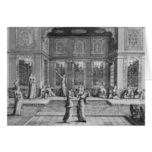 Mujeres que bailan en el Harem Tarjetón