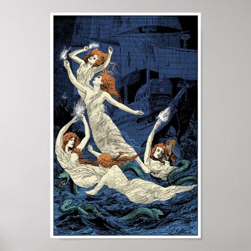 Mujeres que bailan sobre las aguas póster