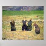 Mujeres que bañan Dieppe, Gauguin, impresionismo Póster