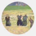 Mujeres que bañan Dieppe, Gauguin, impresionismo Pegatina Redonda