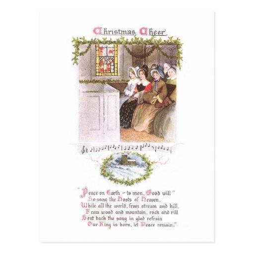 Mujeres que cantan en navidad del vintage de la ig tarjetas postales