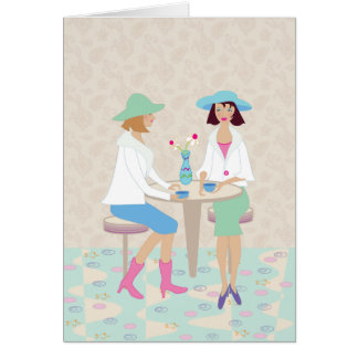 Mujeres que charlan en un café - Notecard en blanc Tarjeta De Felicitación