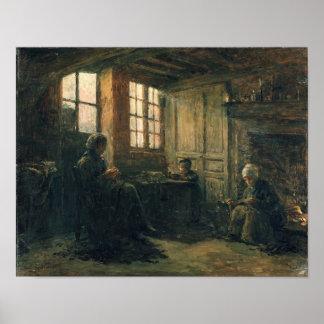 Mujeres que desgastan el lino, Honfleur, 1877 Póster