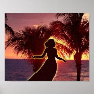 Mujeres que elogian al señor en la puesta del sol, póster