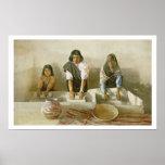 Mujeres que muelen el maíz, pueblo de Laguna, c.19 Póster