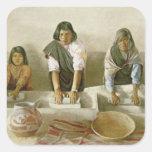Mujeres que muelen el maíz, pueblo de Laguna, Pegatina Cuadrada