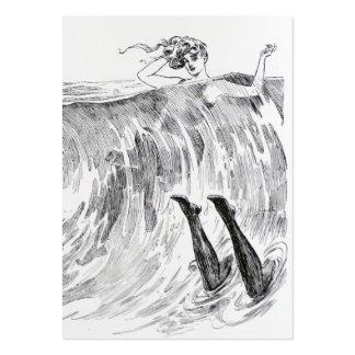 Mujeres que nadan en el mar - bilateral tarjetas de visita grandes