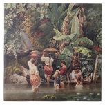 Mujeres que se lavan debajo de un árbol de plátano azulejos ceramicos