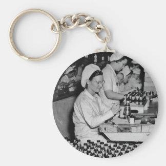 Mujeres que trabajan en la planta WWII de las muni Llaveros