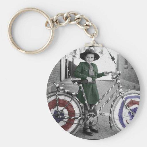 Mujeres retras 4tas del vintage del girl scout y d llavero redondo tipo pin