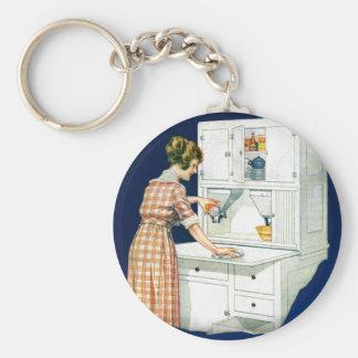 Mujeres retras del vintage que limpian la estufa c llaveros personalizados