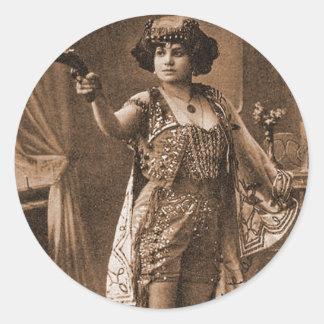 Mujeres retras Sideshow Elly De Sarto del vintage Pegatina Redonda