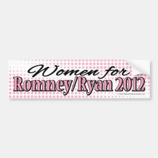 Mujeres rosadas para Romney/pegatina para el parac Etiqueta De Parachoque
