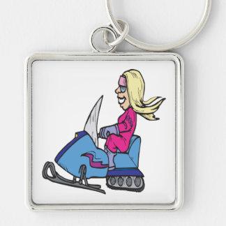 Mujeres Snowmobiling Llavero Cuadrado Plateado