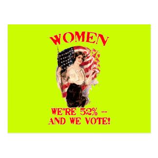¡MUJERES - somos los 52% y votamos! Postal