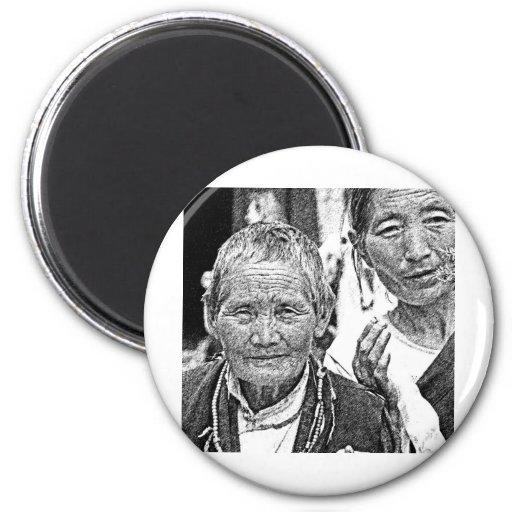 Mujeres tibetanas imán para frigorifico
