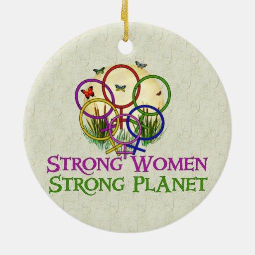 Mujeres unidas adorno navideño redondo de cerámica