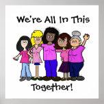 Mujeres unidas contra el poster del cáncer de pech