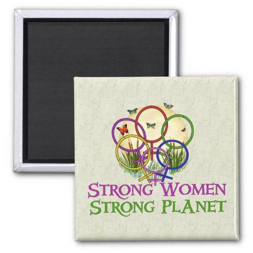 Mujeres unidas imán cuadrado