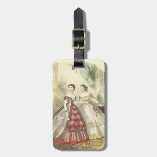 Mujeres V2 de los 1860s del vintage Etiqueta De Maleta