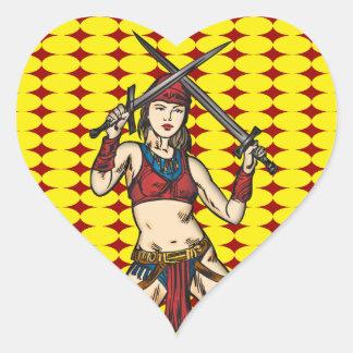Mujeres valientes del Amazonas Pegatina En Forma De Corazón
