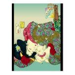 Mujeres y gato japoneses tarjetas postales
