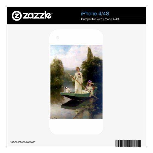 Mujeres y perro en una pintura del barco iPhone 4S skin